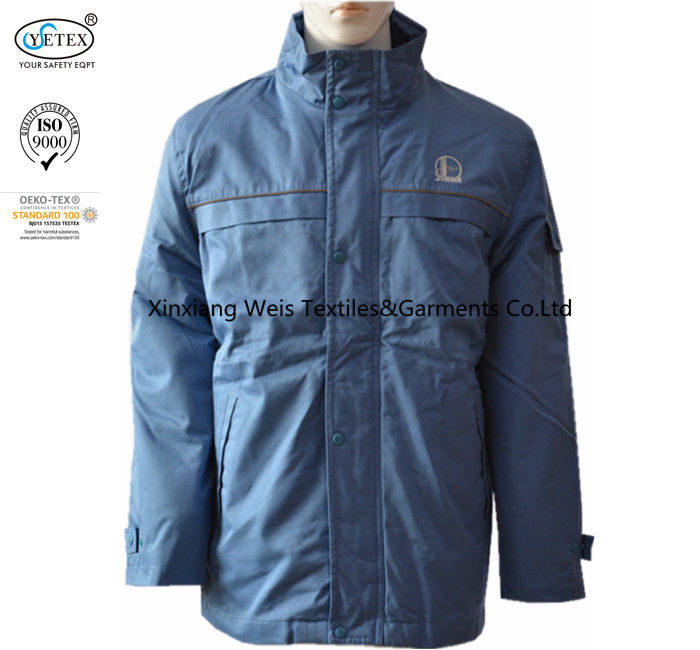 Blue Cotton Anti Static Flame Retardant Jacket / Insulated Fr Winter Coat Protective