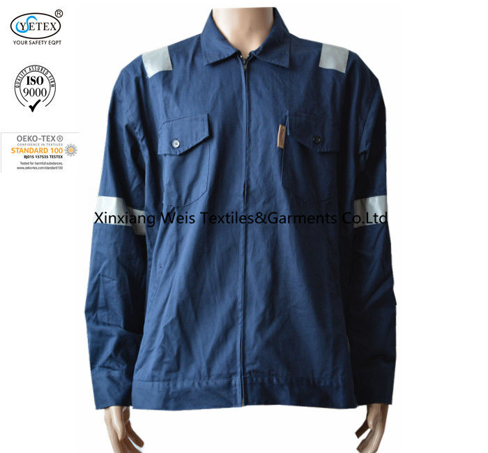 Navy Blue Flame Retardant Jacket / Arc Flash Fire Resistant Work Jacket With Reflector