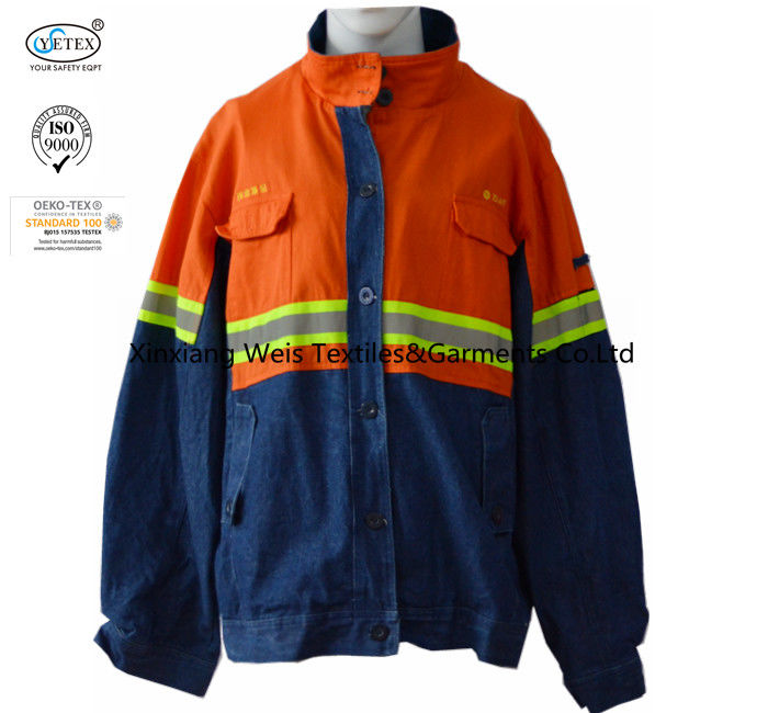 Safety Navy Blue Arc Flash Flame Retardant Jacket With Reflector Lightweight