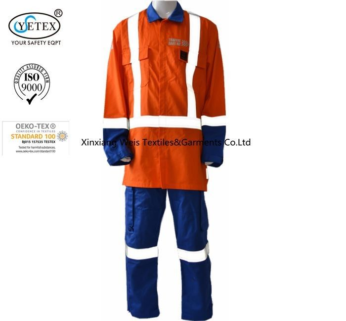 Anti Arc Flash Fire Retardant Suit / Fire Retardant Boiler Suit With Reflective Trim