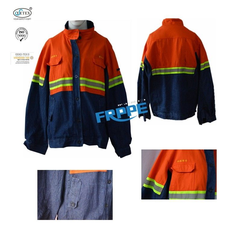 Navy Blue Arc Flash Flame Retardant Jacket With Reflector