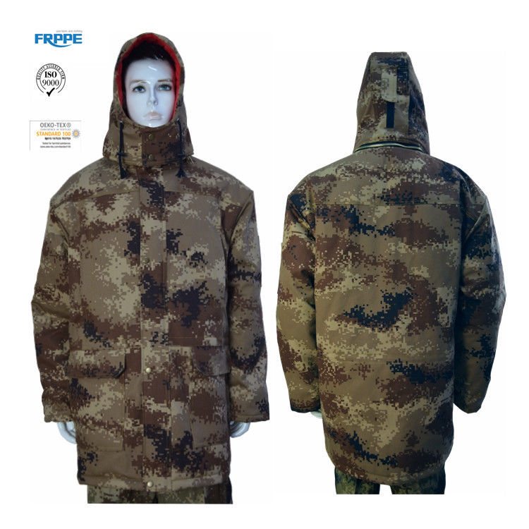 Desert Camouflage Winter 180gsm Cotton Flame Retardant Coat With Detachable Hood